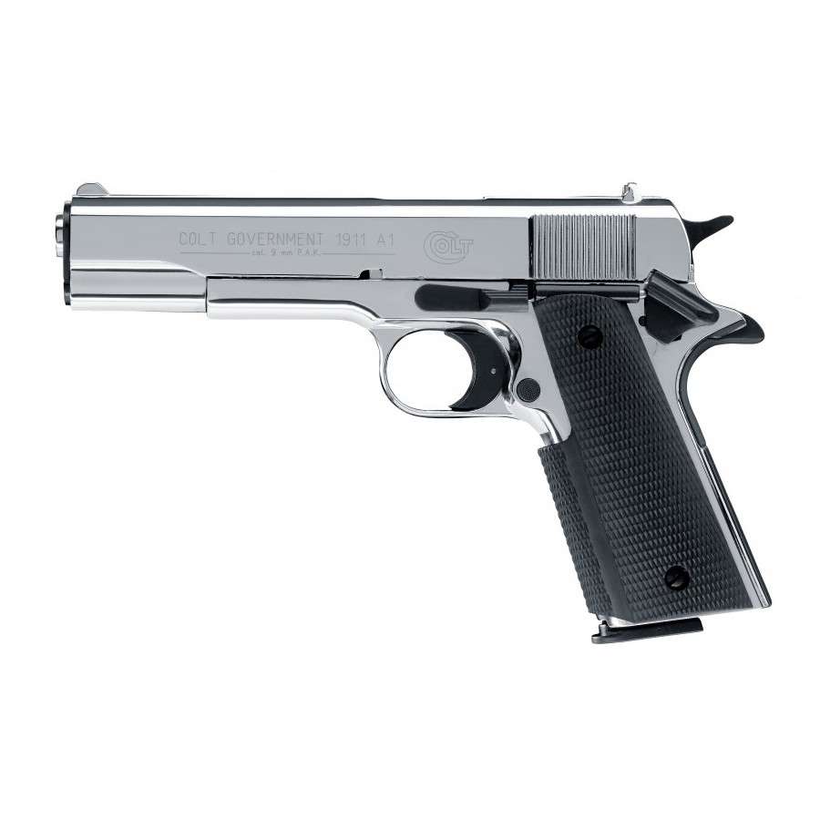 Colt Government 1911 A1 - Chromé Cal. 9mm PAK