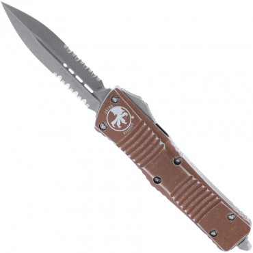 Combat Troodon D/E Distressed Tan Apocalyptic Partial Serrated - Microtech